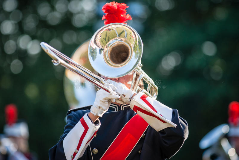 Różnorodni instrumenty i szczegóły od muzycznego zespołu windband zdjęcia stock