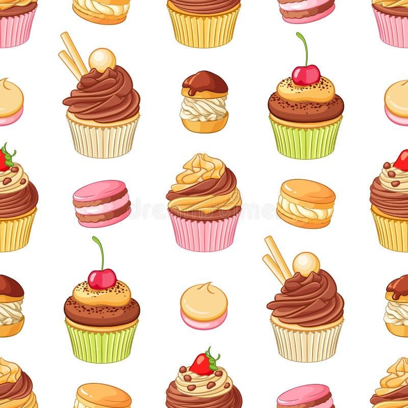 Różnorodni jaskrawi kolorowi czekoladowi desery Bezszwowy wektoru wzór na białym tle ilustracja wektor