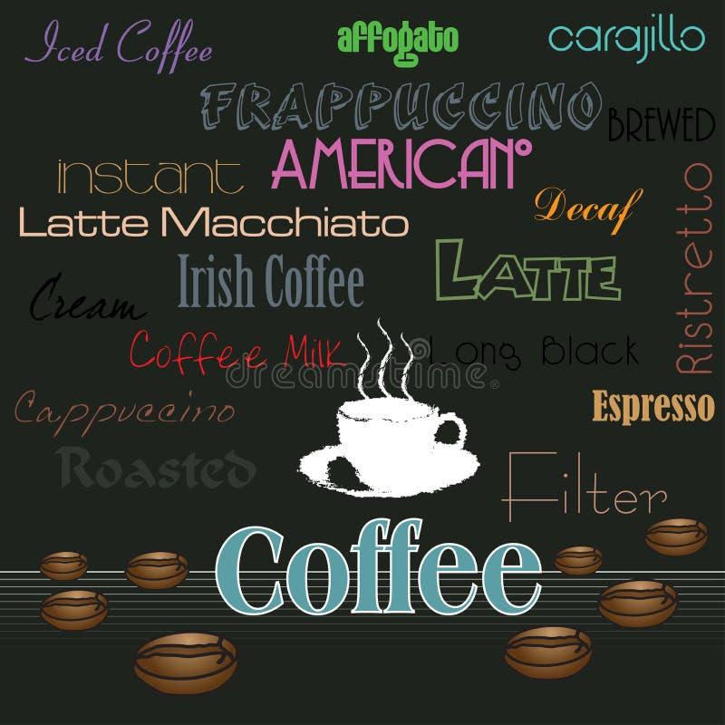 różnorodni kawowi napoje ilustracji