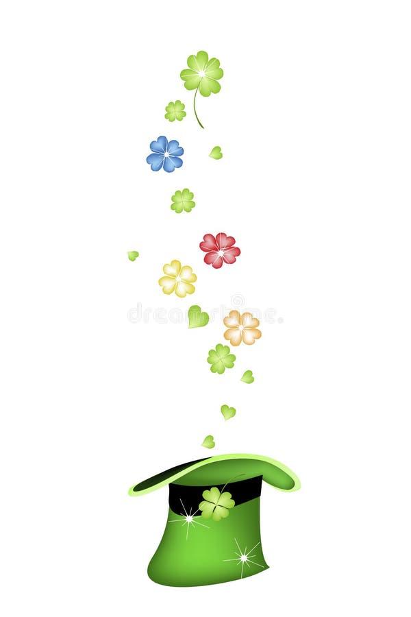 Różnorodni kolory Shamrocks w Zielonym kapeluszu ilustracja wektor