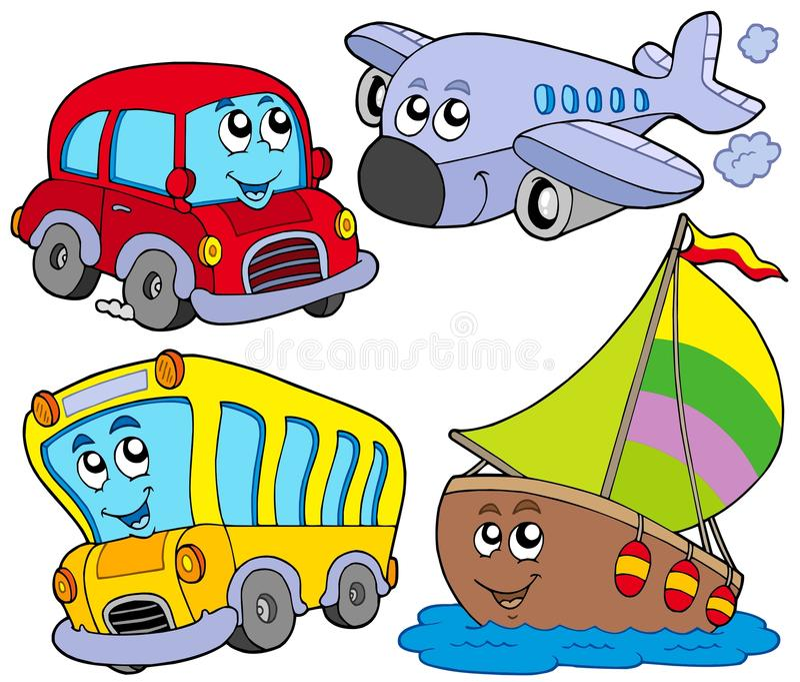 różnorodni kreskówka pojazdy royalty ilustracja