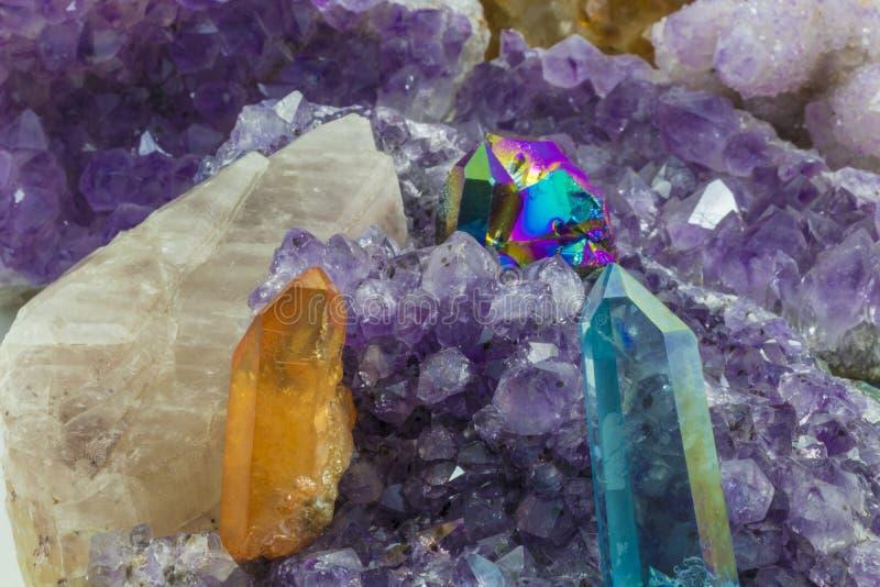 Różnorodni kryształy w stosie zdjęcia royalty free