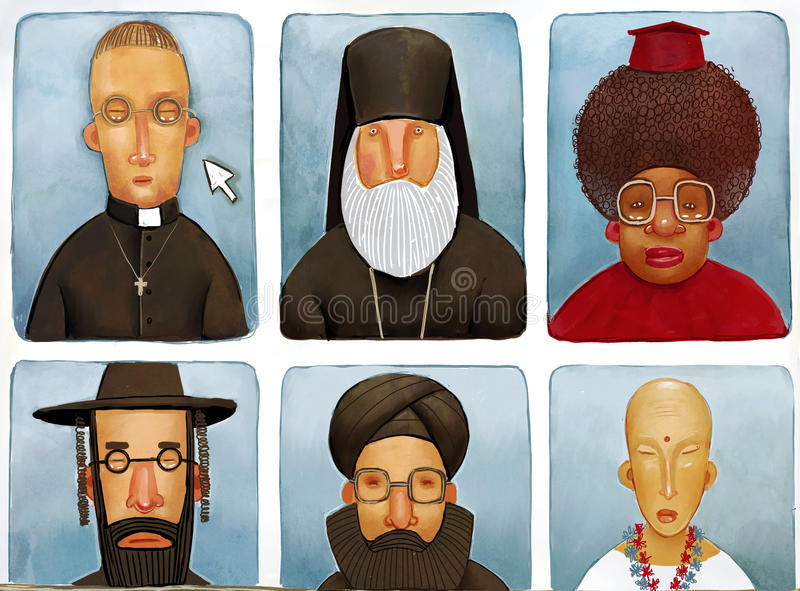 Różnorodni księża ilustracji