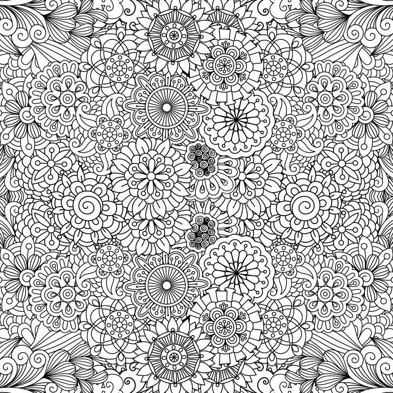 Różnorodni kwieciści pinwheel kształty w bezszwowym wzorze ilustracja wektor