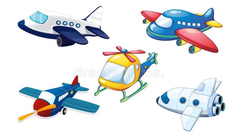 Różnorodni lotniczy samoloty ilustracji