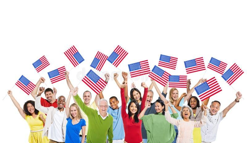Różnorodni ludzie Jednoczący jako Jeden dla Ameryka zdjęcie royalty free