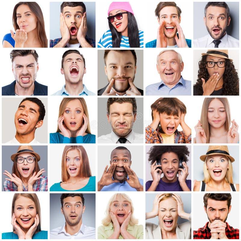 Różnorodni ludzie z różnymi emocjami obraz stock
