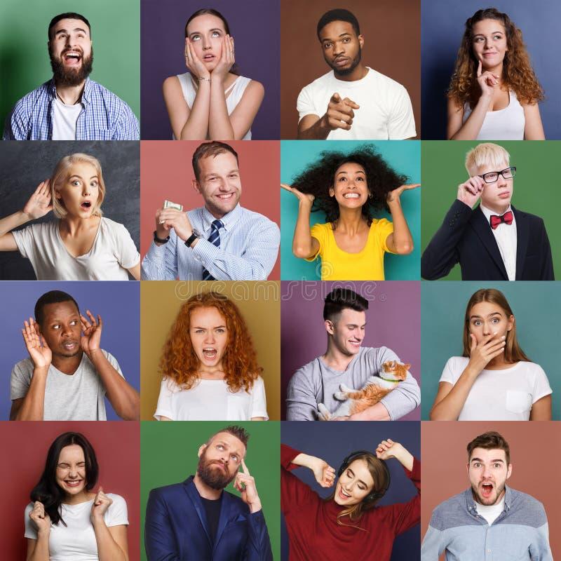 Różnorodni młodzi ludzie pozytywni i negatywne emocje ustawiać zdjęcie stock