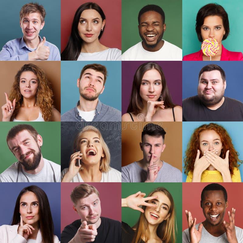 Różnorodni młodzi ludzie pozytywni i negatywne emocje ustawiać zdjęcie royalty free