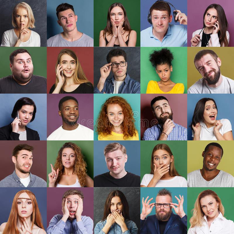 Różnorodni młodzi ludzie pozytywni i negatywne emocje ustawiać obraz stock