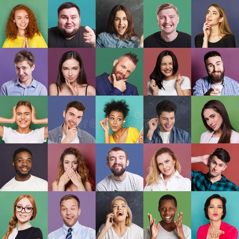 Różnorodni młodzi ludzie pozytywni i negatywne emocje ustawiać obrazy stock