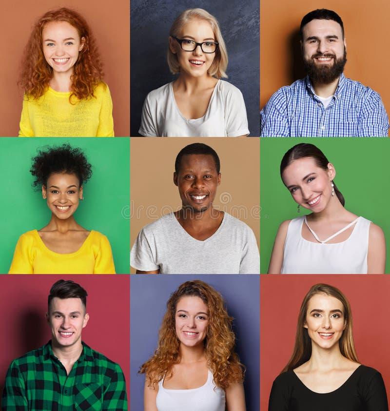Różnorodni młodzi ludzie pozytywnych emocj ustawiać zdjęcia stock