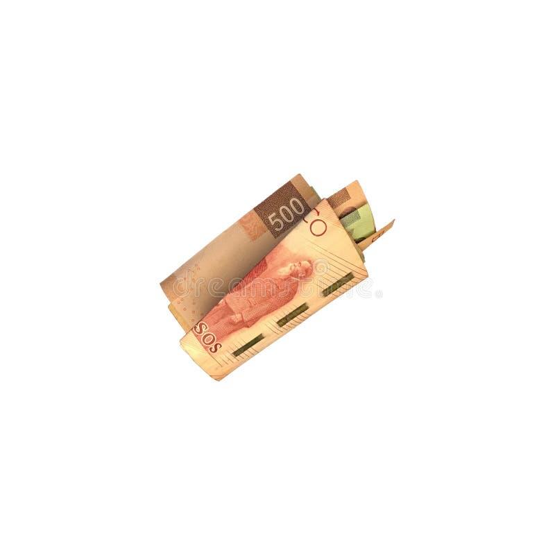 Różnorodni meksykańskiego peso rachunki 100, 200 i 500 składający i grupujący na białym tle, zdjęcie stock