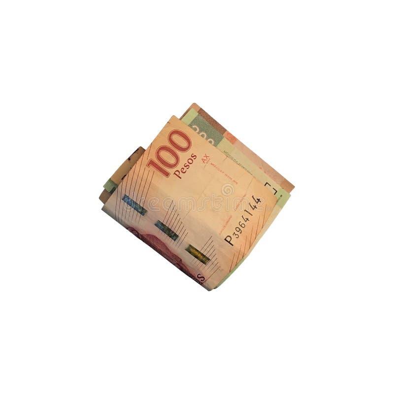 Różnorodni meksykańskiego peso rachunki 100, 200 i 500 składający i grupujący na białym tle, obrazy royalty free