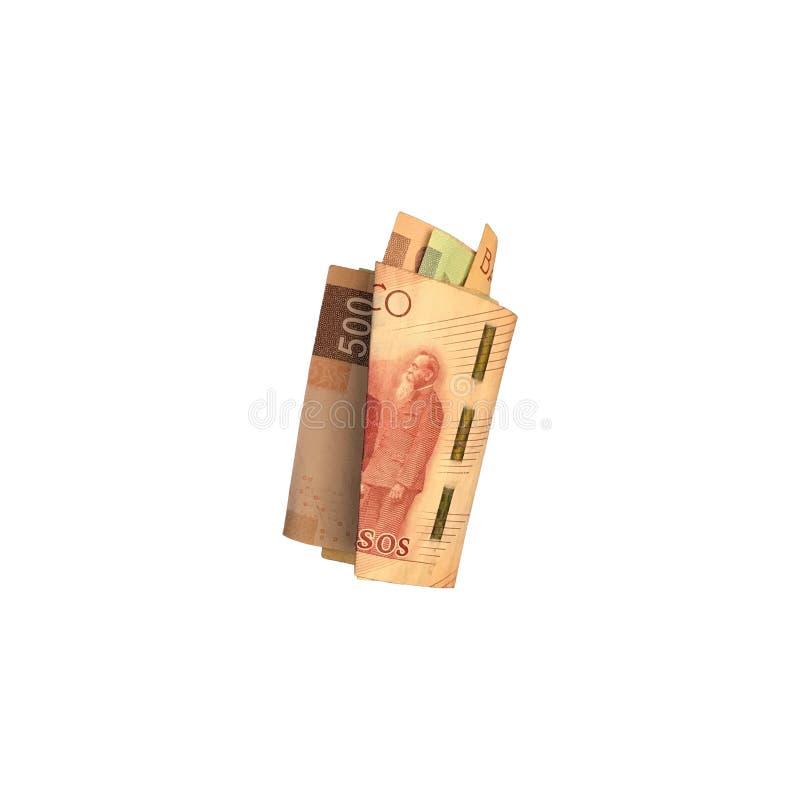 Różnorodni meksykańskiego peso rachunki 100, 200 i 500 składający i grupujący na białym tle, zdjęcie royalty free