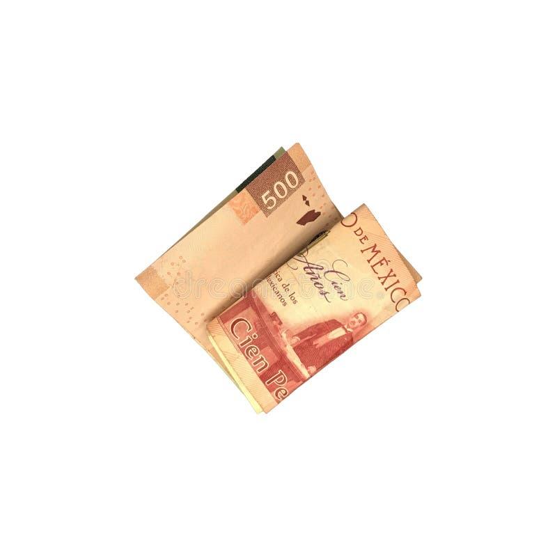 Różnorodni meksykańskiego peso rachunki 100, 200 i 500 składający i grupujący na białym tle, fotografia stock