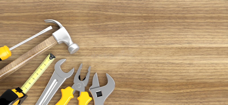 Różnorodni narzędzia na drewnianym royalty ilustracja