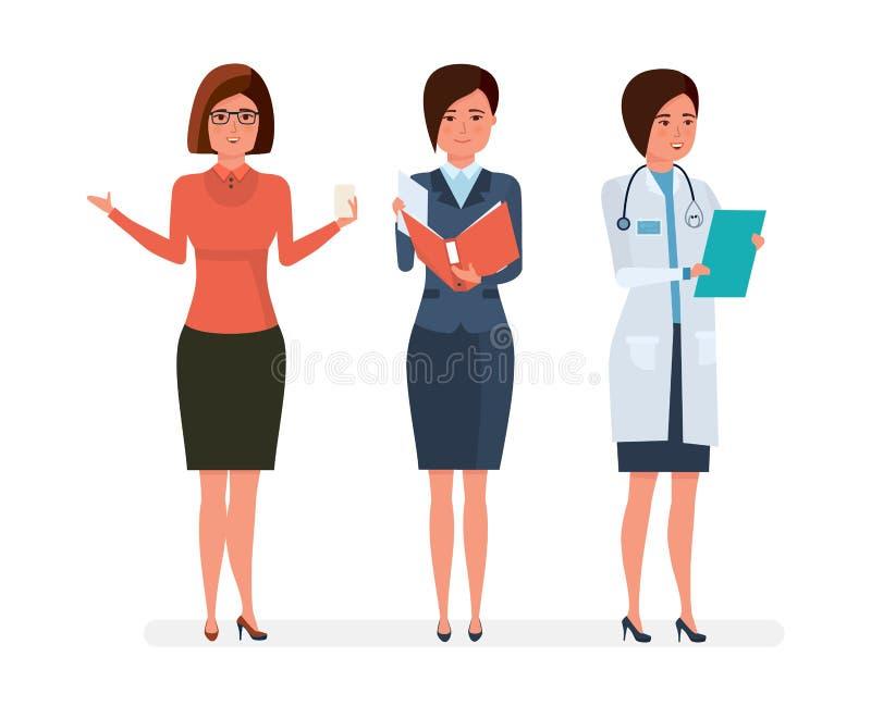 Różnorodni nowożytni kobiety ` s zawody Nauczyciel, bizneswoman, lekarz szpitalny ilustracja wektor