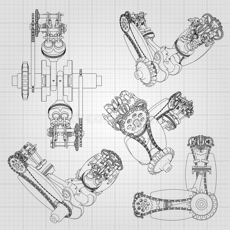Różnorodni parowozowi składniki, tłoki, łańcuchy, nozzles i klapy, przedstawiają w postaci linii i konturów 3d ilustracji