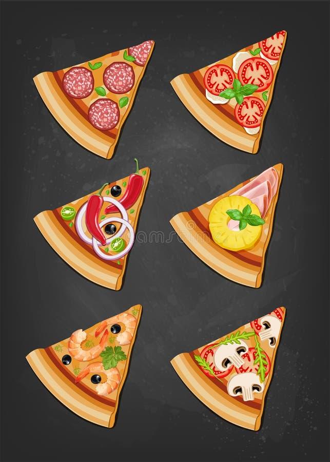 Różnorodni plasterki pizza royalty ilustracja