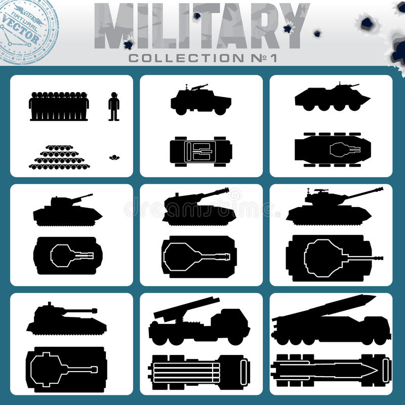 Różnorodni pojazdy wojskowi łatwe tło ikony zamieniają przejrzystego cienia wektor ilustracja wektor