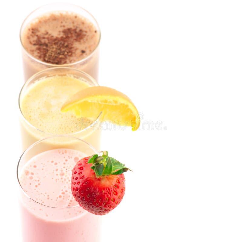 Różnorodni proteinowi koktajle zdjęcie stock