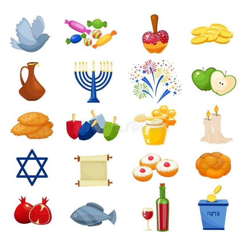 Różnorodni symbole i rzeczy Hanukkah świętowania płaskie ikony ustawiają odosobnioną wektorową ilustrację