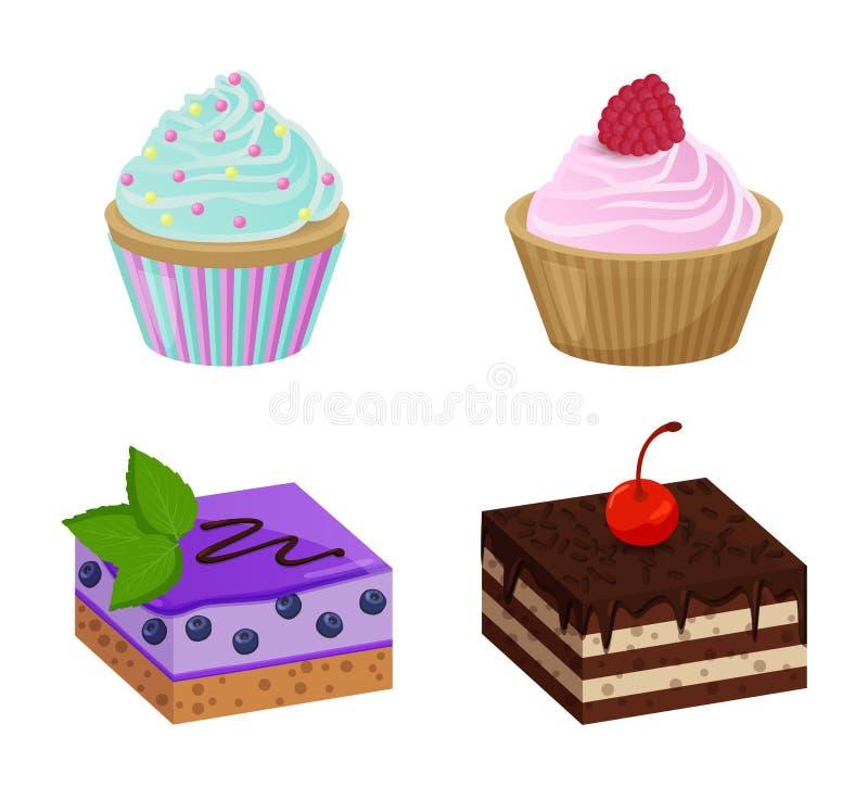 Różnorodni torty z babeczka wektoru ilustracją ilustracja wektor