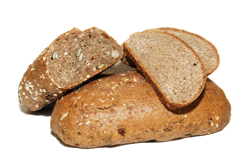 Różnorodni typ całkowy chleb na białym tle, zdjęcie stock