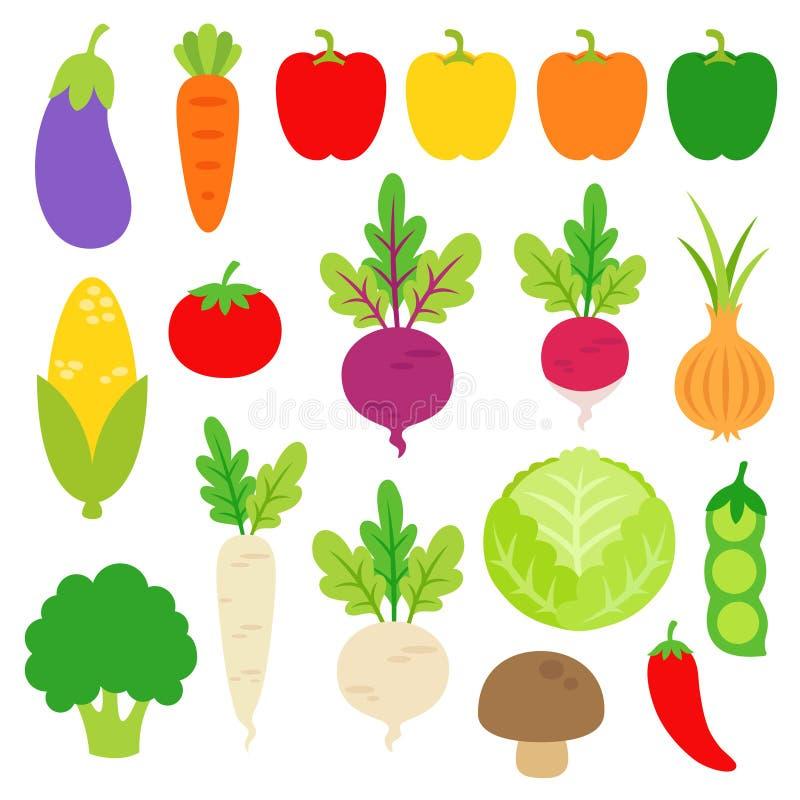 Różnorodni warzywa Clipart ilustracji