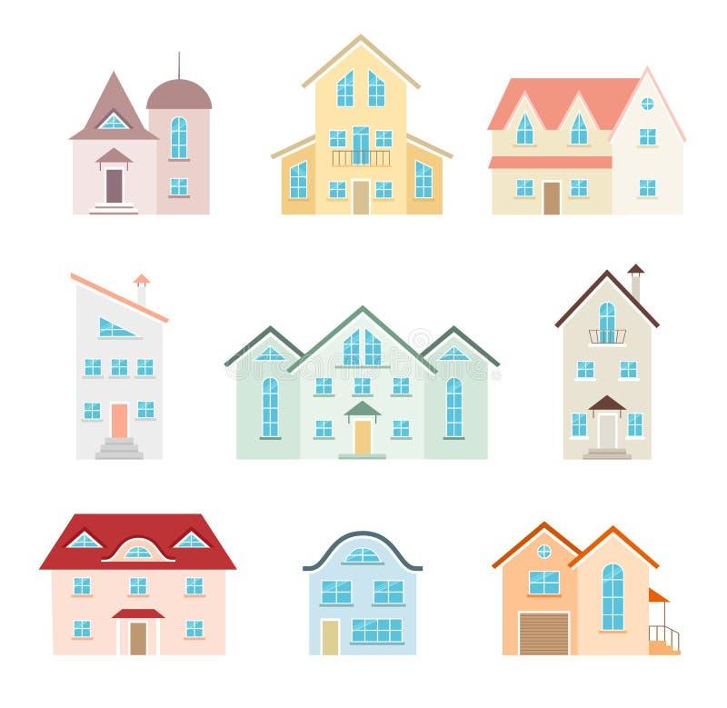 Różnorodni wektorowi budynki Domy w mieszkanie stylu ikony ilustracja wektor