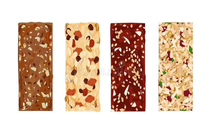 Różnorodni wektorowi granola bary na białym tle Zdrowy bezpłatny i lactosa uwalniamy przekąski Energetyczni bary ilustracja wektor