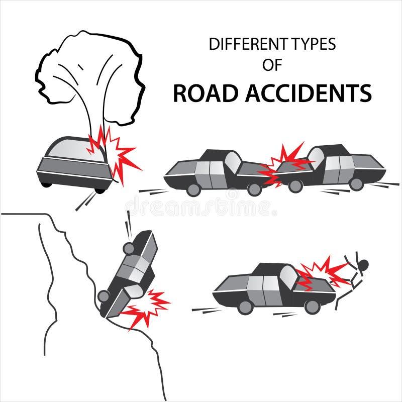 Różnorodni wypadki drogowi ilustracji