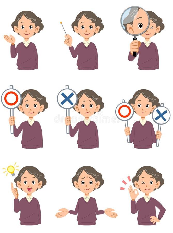 Różnorodni wyrazy twarzy starsze kobiety 2 ilustracja wektor