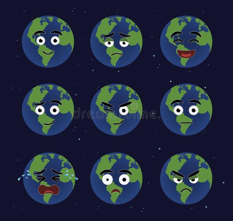 Różnorodni Ziemscy kreskówek Emoticons royalty ilustracja
