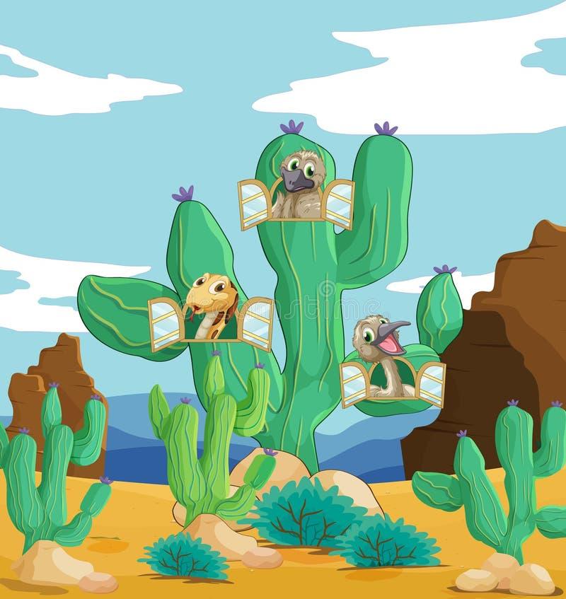 Różnorodni zwierzęta i kaktus ilustracja wektor