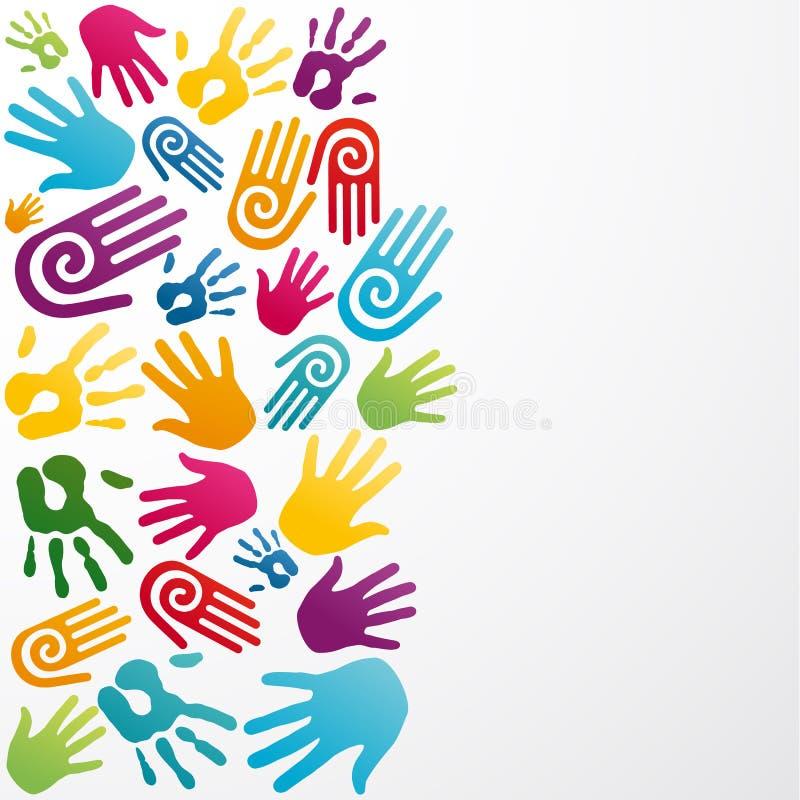 Różnorodność barwi ludzką rękę royalty ilustracja
