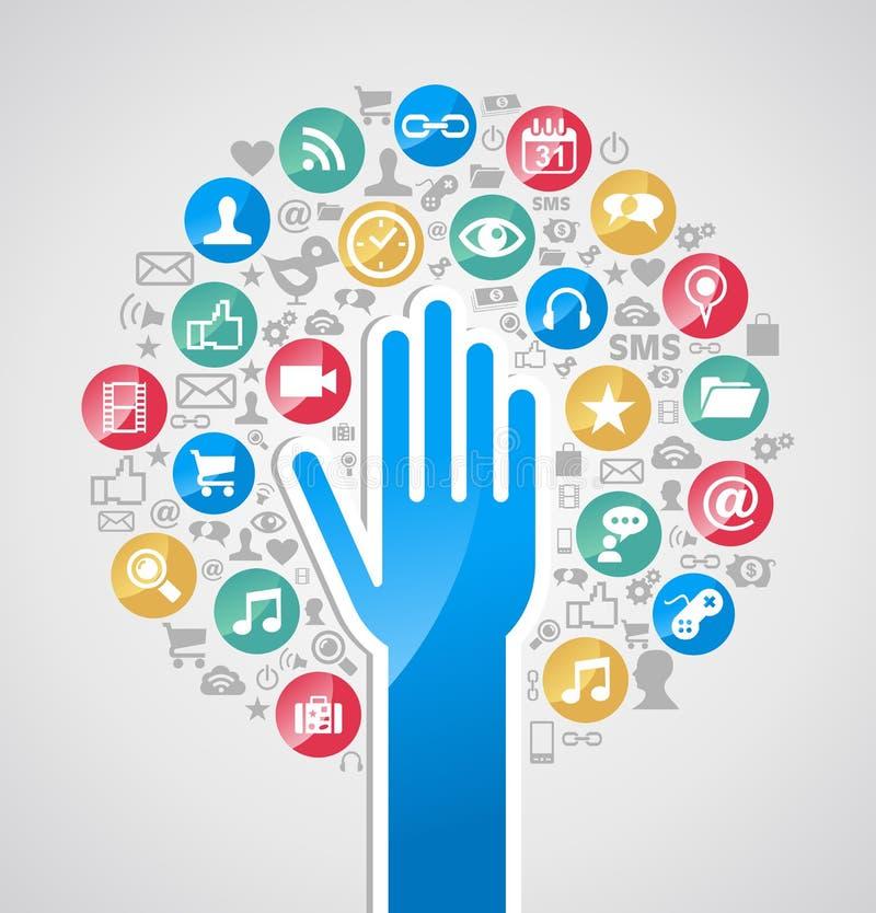 Różnorodność interneta technologii ręki drzewo ilustracja wektor