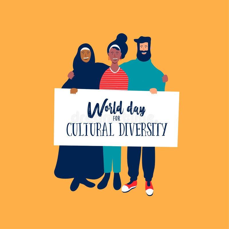 Różnorodność Kulturalna dnia karta różnorodni przyjaciele ilustracji