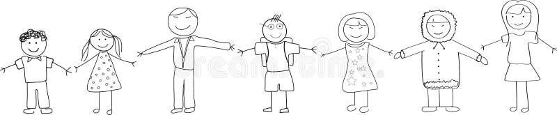 Różnorodność Kulturalna ludzie Trzyma ręki Doodle Ske ilustracji