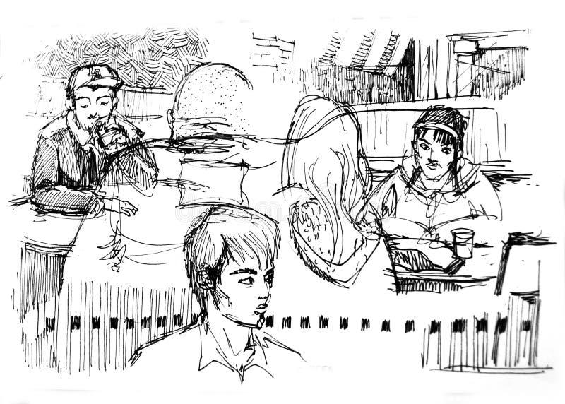 Różnorodność ludzie w sklep z kawą rysunku ilustracja wektor