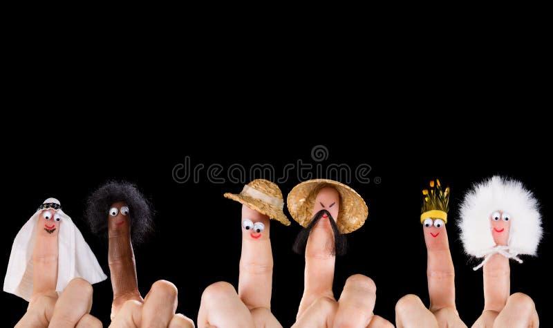 Różnorodność palcowe kukły zdjęcie royalty free