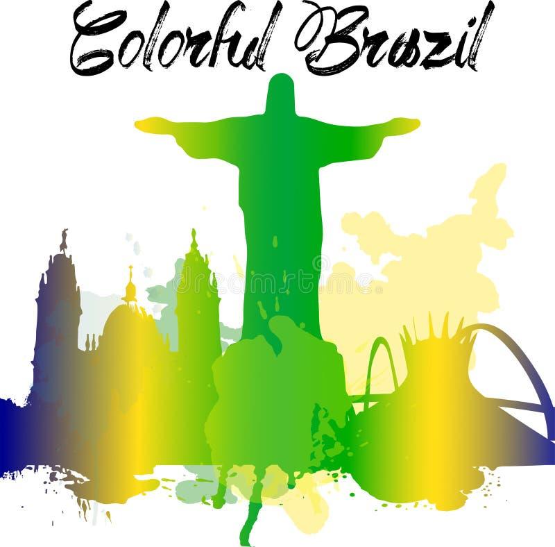 Różnorodność zabytki Brazylia, sławna linia horyzontu barwią przezroczystość Wektor organizujący w warstwach dla łatwego edytorst ilustracja wektor