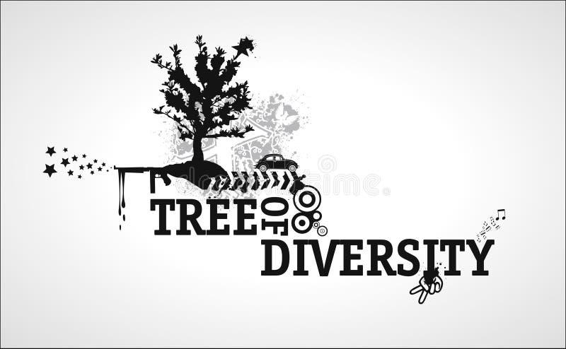 różnorodności abstrakcjonistyczny drzewo ilustracji