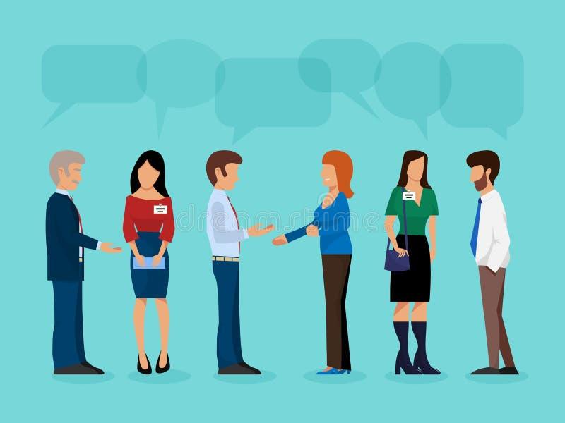 Różnorodności grupa ludzi spotkanie w górę partyjnego pojęcia konferencyjnego spotkania grupowego biznesowej wektorowej ilustracj ilustracja wektor