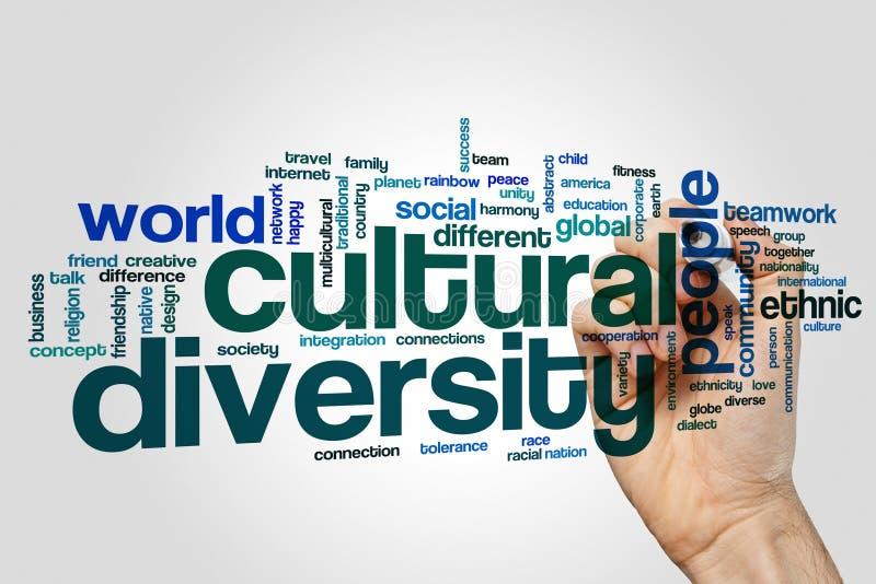 Różnorodności kulturalnej słowa chmury pojęcie na popielatym tle ilustracja wektor