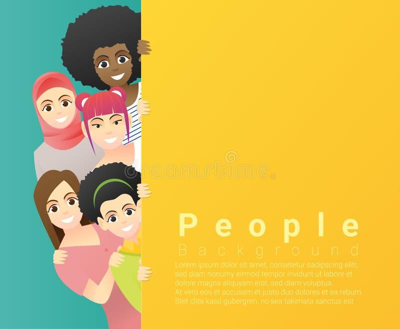 Różnorodności pojęcia tło, grupa szczęśliwe wielo- etniczne kobiety stoi za pustą kolorową deską ilustracji