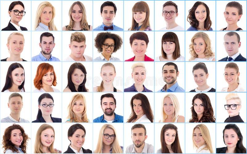 Różnorodności pojęcie - kolaż z wiele ludźmi biznesu portretów zdjęcia royalty free