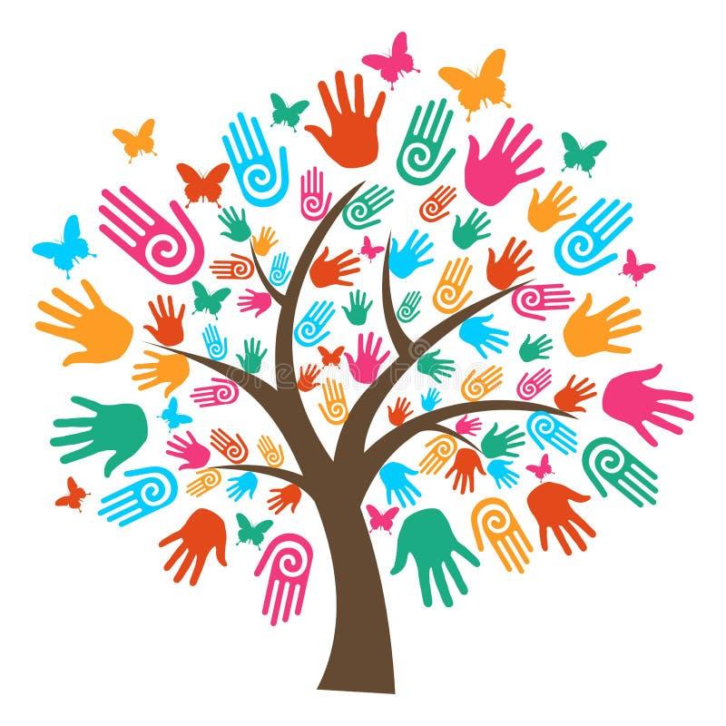 różnorodności ręk odosobniony drzewo ilustracja wektor