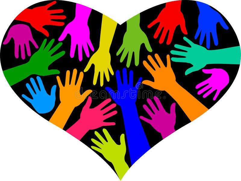 różnorodności serca tęcza ilustracja wektor